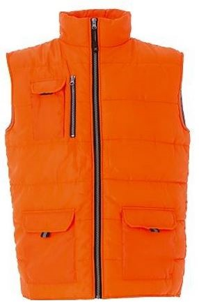 Gilet da lavoro arancione a zip lunga, tessuto impermeabile, imbottitura in poliestere