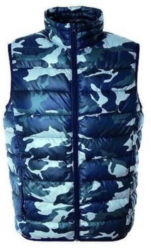 Gilet da lavoro in nylon, con imbottitura in poliestere camoflage blu navy