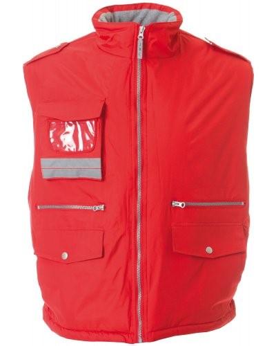 Gilet da lavoro imbottito e multitasche, tessuto impermeabile, con porta badge. Colore rosso