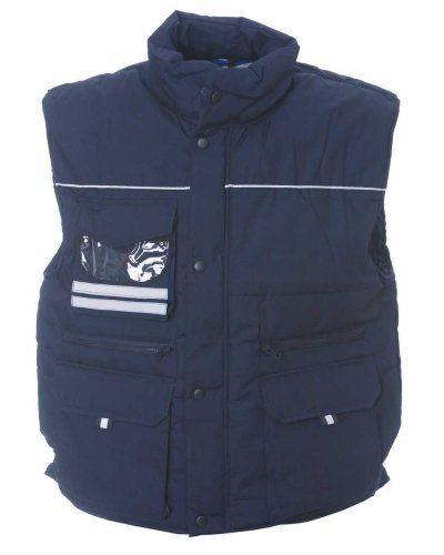 Gilet multitasche imbottito antipioggia, con porta badge, tessuto in poliestere e cotone. Colore blu navy
