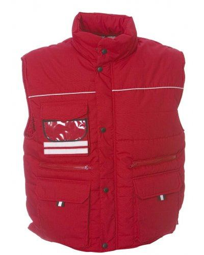 Gilet multitasche imbottito antipioggia, con porta badge, tessuto in poliestere e cotone. Colore rosso