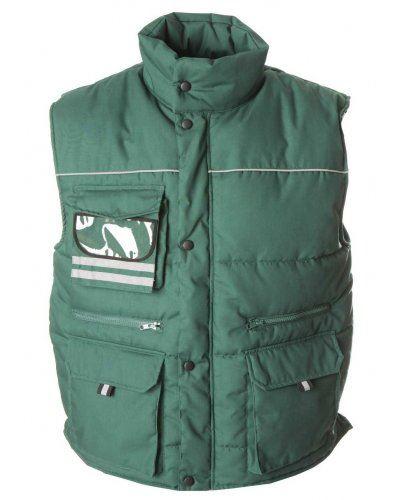 Gilet multitasche imbottito antipioggia, con porta badge, tessuto in poliestere e cotone. Colore verde