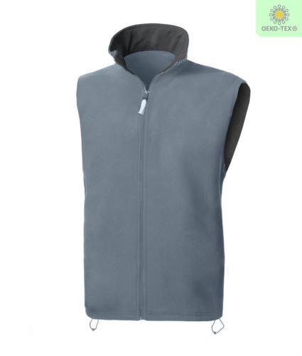 Gilet in pile antipilling con zip lunga, due tasche, colore grigio