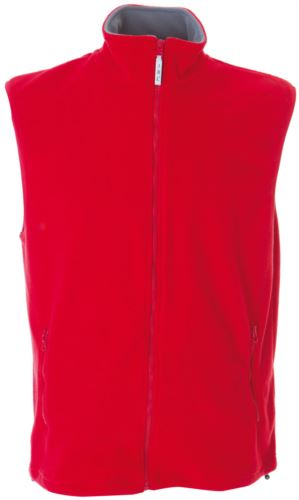 Gilet in pile antipilling con zip lunga, due tasche, colore rosso