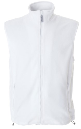 Gilet in pile antipilling con zip lunga, due tasche, colore bianco