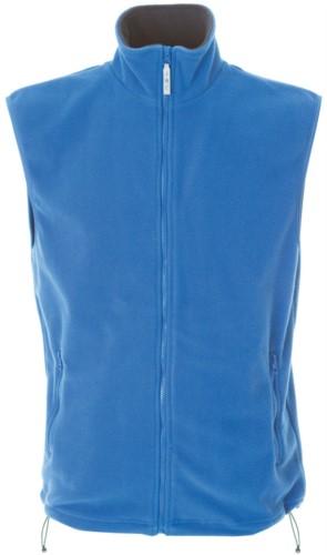 Gilet in pile antipilling con zip lunga, due tasche, colore azzurro royal