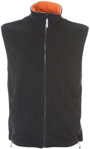 Gilet in pile antipilling con zip lunga, due tasche, colore nero