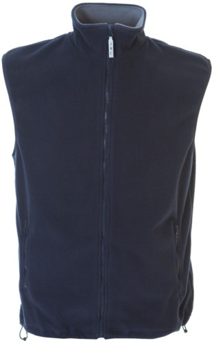 Gilet in pile antipilling con zip lunga, due tasche, colore blu navy