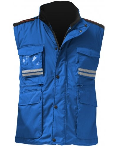 Gilet multitasche donna, zip in plastica con cursore in metallo, spacchetti laterali, colore blu royal