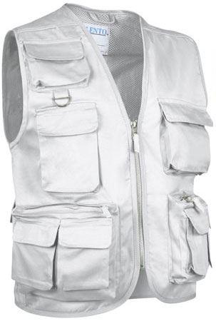 Gilet multitasche estivo, fodera dry tech, chiusura a zip lunga, colore bianco