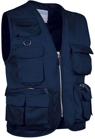 Gilet multitasche estivo, fodera dry tech, chiusura a zip lunga, colore blu