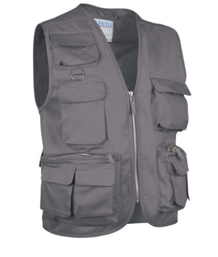 Gilet multitasche estivo, fodera dry tech, chiusura a zip lunga, colore grigio
