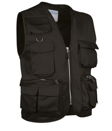 Gilet multitasche estivo, fodera dry tech, chiusura a zip lunga, colore nero