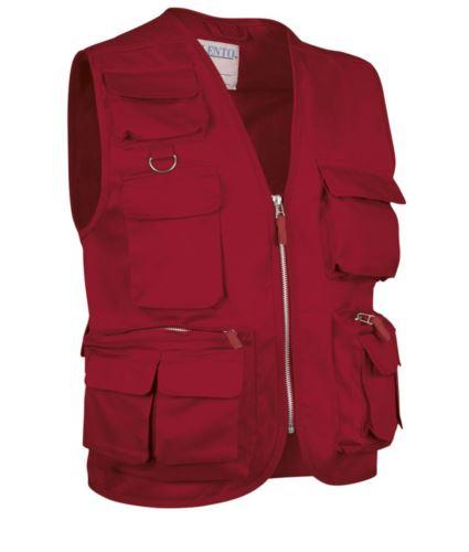 Gilet multitasche estivo, fodera dry tech, chiusura a zip lunga, colore rosso
