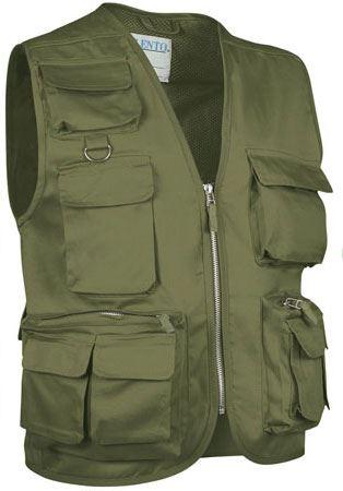 Gilet multitasche estivo, fodera dry tech, chiusura a zip lunga, colore verde