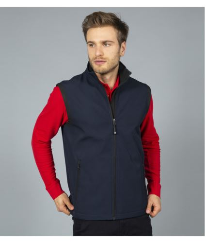 gilet in soft shell a zip lunga in poliamide ed elastane e fodera in micropile. Colore blu.