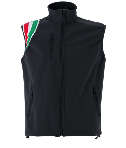 Gilet in soft shell impermeabile e traspirante colore nero in poliestere