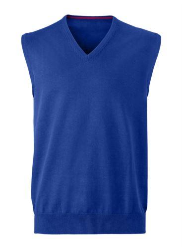 Gilet uomo con scollo a V, senza maniche, colore blu royal, tessuto a maglia 100% cotone. Contattaci per un preventivo gratuito.