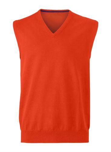 Gilet uomo con scollo a V, senza maniche, colore arancione, tessuto a maglia 100% cotone. Contattaci per un preventivo gratuito.