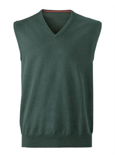 Gilet uomo con scollo a V, senza maniche, colore verde foresta, tessuto a maglia 100% cotone. Contattaci per un preventivo gratuito.