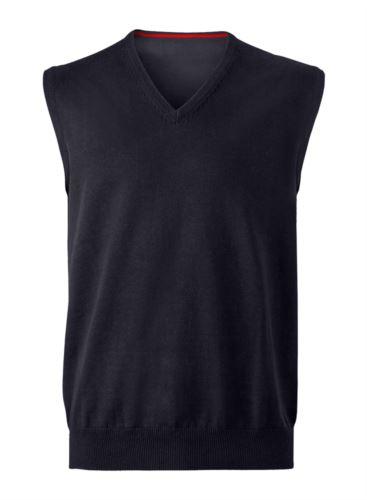 Gilet uomo con scollo a V, senza maniche, colore nero, tessuto a maglia 100% cotone. Contattaci per un preventivo gratuito.