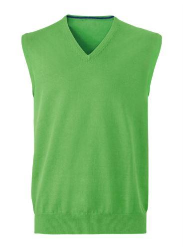Gilet uomo con scollo a V, senza maniche, colore verde, tessuto a maglia 100% cotone. Contattaci per un preventivo gratuito.