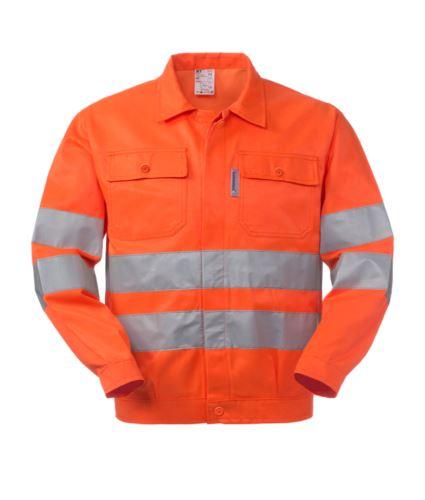 Giubbetto alta visibilità con collo a camicia, taschini al petto, doppia banda al girovita e sulle maniche, certificata EN 20471, colore arancione