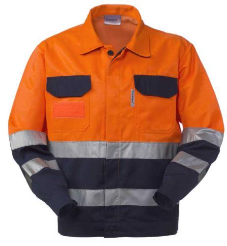 Giubbetto alta visibilità, bicolore con doppia banda al girovita e alle maniche, collo a camicia e due taschini, certificata EN 20471, EN 13688:2013, colore arancione/blu