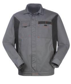 Giubbino bicolore da lavoro in poliestere e cotone, colore grigio/nero