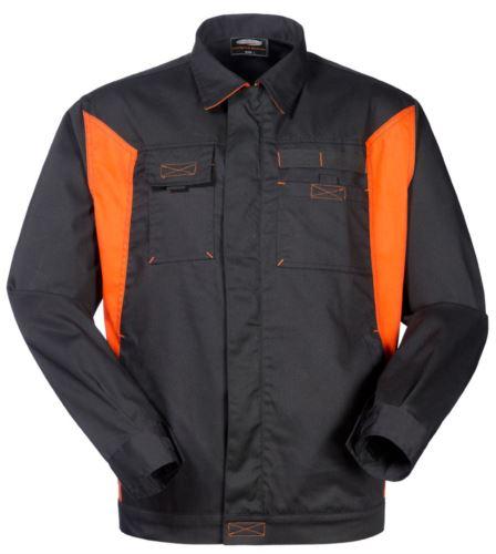 Giubbino bicolore da lavoro in poliestere e cotone, colore nero/arancione