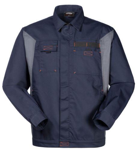 Giubbino bicolore da lavoro in poliestere e cotone, colore blu navy/grigio