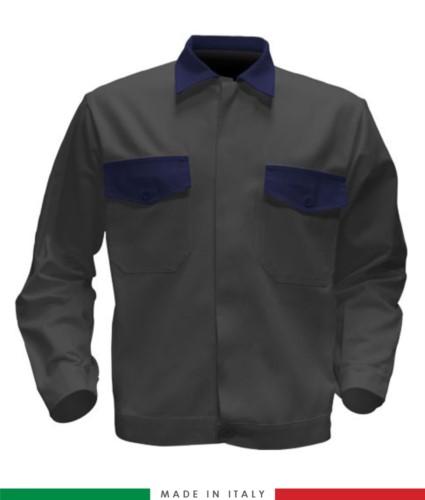 Giubbino da lavoro bicolore, Made in Italy. Due tasche sul petto. Possibilità di produzione personalizzata. Colore Grigio/Blu Navy