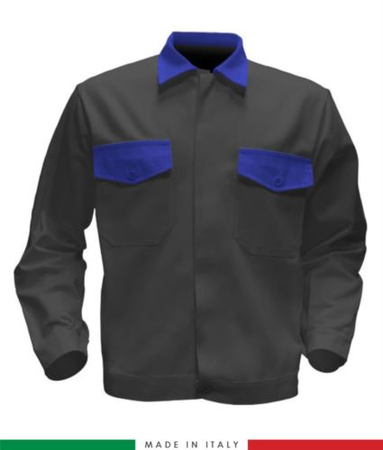 Giubbino da lavoro bicolore, Made in Italy. Due tasche sul petto. Possibilità di produzione personalizzata. Colore Grigio/Azzurro Royal