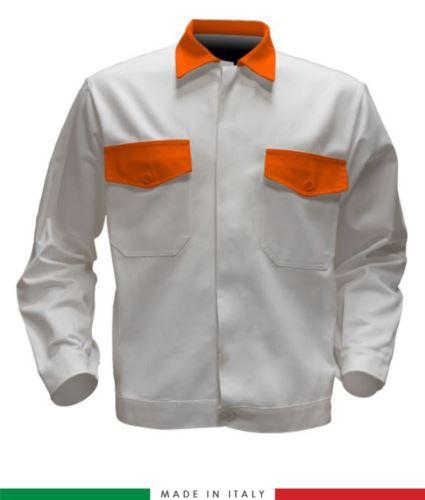 Giubbino da lavoro bicolore, Made in Italy. Due tasche sul petto. Possibilità di personalizzazione. Colore Bianco/Arancione