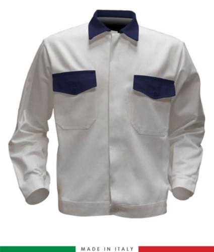 Giubbino da lavoro bicolore, Made in Italy. Due tasche sul petto. Possibilità di personalizzazione. Colore Bianco/Blu Navy