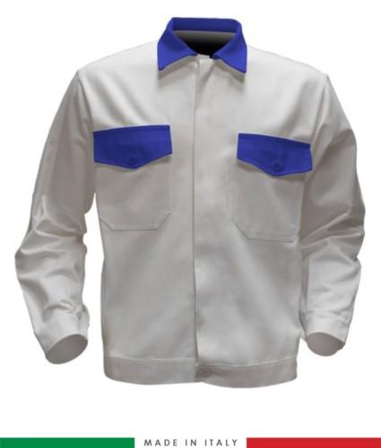 Giubbino da lavoro bicolore, Made in Italy. Due tasche sul petto. Possibilità di personalizzazione. Colore Bianco/Azzurro Royal