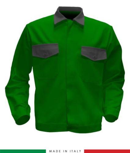 Giubbino da lavoro bicolore, Made in Italy. Due tasche sul petto. Possibilità di produzione personalizzata. Colore Verde Brillante/Grigio