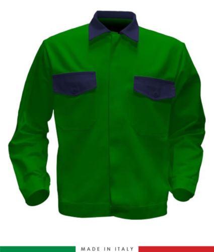 Giubbino da lavoro bicolore, Made in Italy. Due tasche sul petto. Possibilità di produzione personalizzata. Colore Verde Brillante/Blu Navy