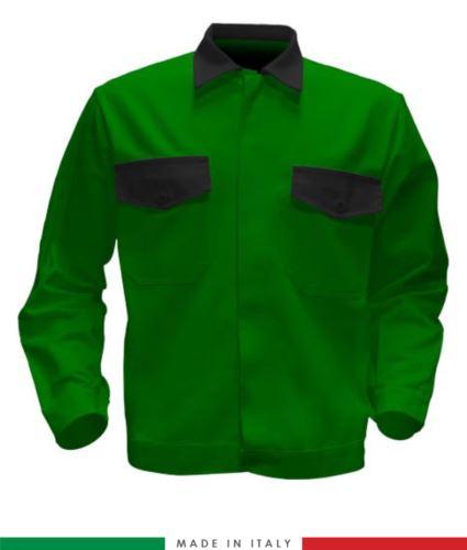 Giubbino da lavoro bicolore, Made in Italy. Due tasche sul petto. Possibilità di produzione personalizzata. Colore Verde Brillante/Nero