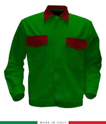 Giubbino da lavoro bicolore, Made in Italy. Due tasche sul petto. Possibilità di produzione personalizzata. Colore Verde Brillante/Rosso