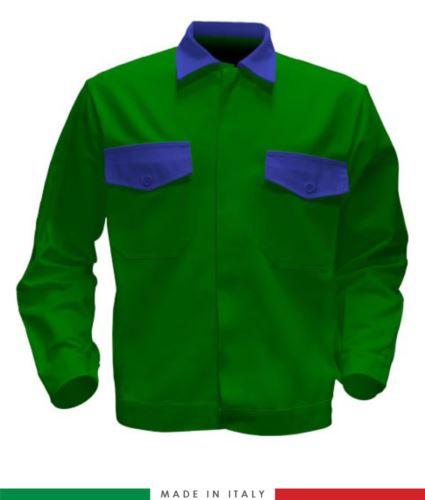 Giubbino da lavoro bicolore, Made in Italy. Due tasche sul petto. Possibilità di produzione personalizzata. Colore Verde Brillante/Azzuro Royal