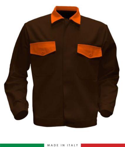 Giubbino da lavoro bicolore, Made in Italy. Due tasche sul petto. Possibilità di produzione personalizzata. Colore Marrone/Arancione