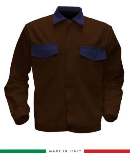 Giubbino da lavoro bicolore, Made in Italy. Due tasche sul petto. Possibilità di produzione personalizzata. Colore Marrone/Blu Navy