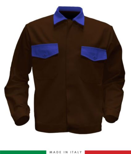 Giubbino da lavoro bicolore, Made in Italy. Due tasche sul petto. Possibilità di produzione personalizzata. Colore Marrone/Azzurro Royal