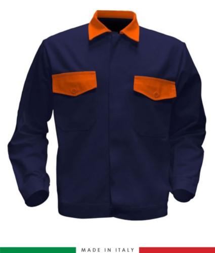 Giubbino da lavoro bicolore, Made in Italy. Due tasche sul petto. Possibilità di produzione personalizzata. Colore Blu Navy/Arancione