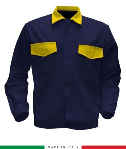 Giubbino da lavoro bicolore, Made in Italy. Due tasche sul petto. Possibilità di produzione personalizzata. Colore Blu Navy/Giallo