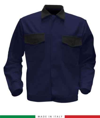 Giubbino da lavoro bicolore, Made in Italy. Due tasche sul petto. Possibilità di produzione personalizzata. Colore Blu Navy/Nero