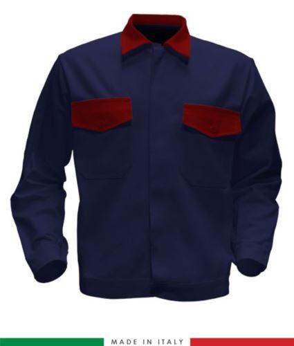 Giubbino da lavoro bicolore, Made in Italy. Due tasche sul petto. Possibilità di produzione personalizzata. Colore Blu Navy/Rosso
