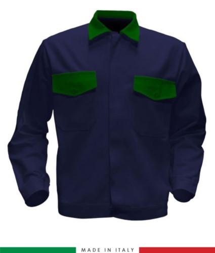 Giubbino da lavoro bicolore, Made in Italy. Due tasche sul petto. Possibilità di produzione personalizzata. Colore Blu Navy/Verde Brillante