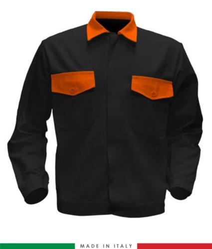 Giubbino da lavoro bicolore, Made in Italy. Due tasche sul petto. Possibilità di produzione personalizzata. Colore Nero/Arancione